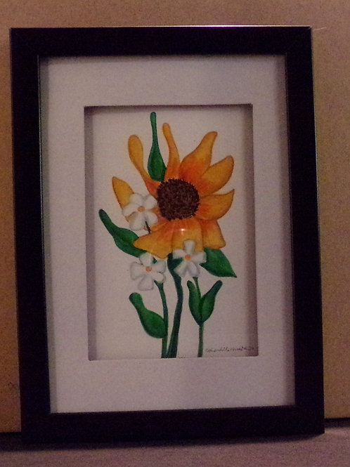 #148 orange and white flowers 5x7 framed watercolor