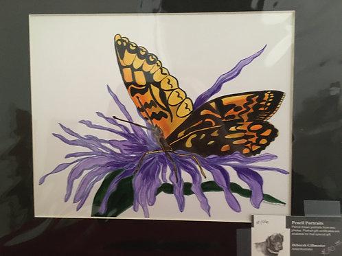 Butterfly on flower #106 11x14 framed watercolor