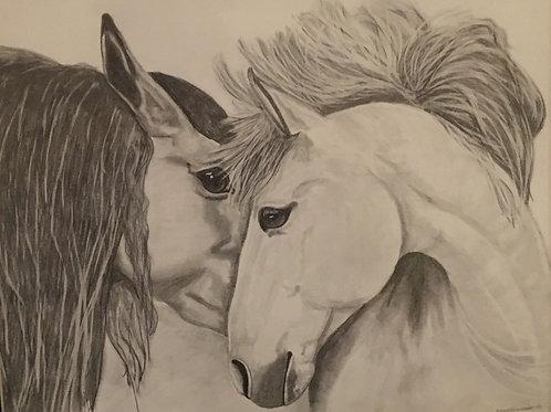 20B 2 horses   16x20 framed pencil drawing