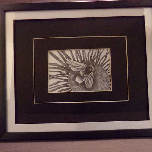 #16 Bee on flower 10x12 framed pencil drawing