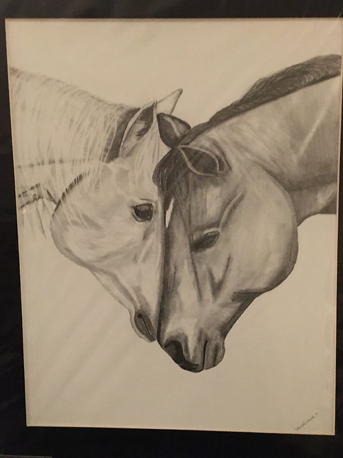 2 horses #34 16x20 framed pencil drawing