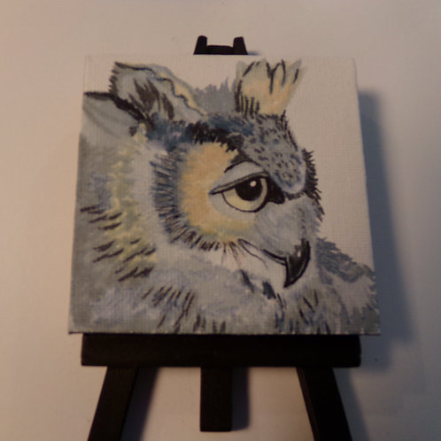 #212 old owl 3x3 inch with easel