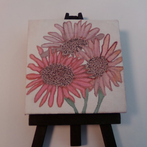 #214 red daisies 3x3 inch with easel