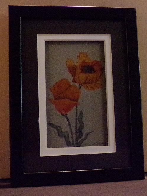 #129 orange poppy 5x7 framed watercolor