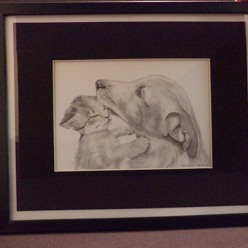 Puppy and kitten #203 10x12 framed pencil drawing