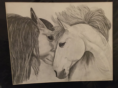 2 horses #20B  16x20 framed pencil drawing