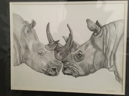Rhinos #141 16x20 framed pencil drawing