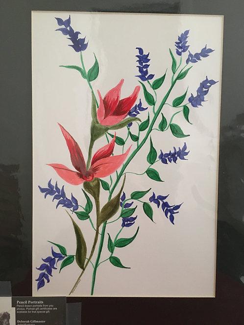 Flowers #41 12x16 framed watercolor