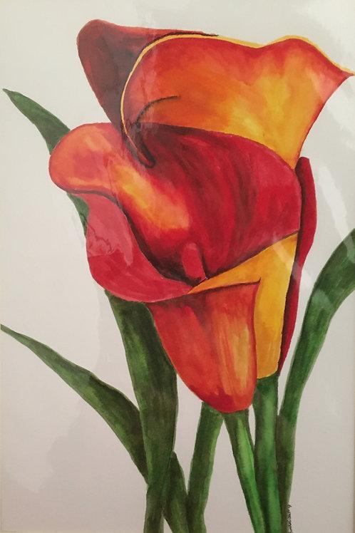 # 42 Flowers  12x16 framed watercolor