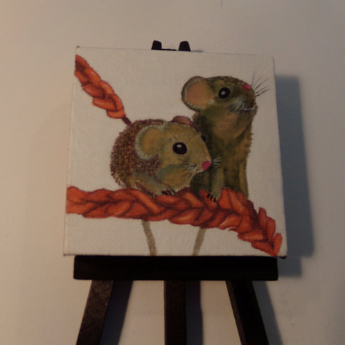 #170 two mice 3x3 inch with easel
