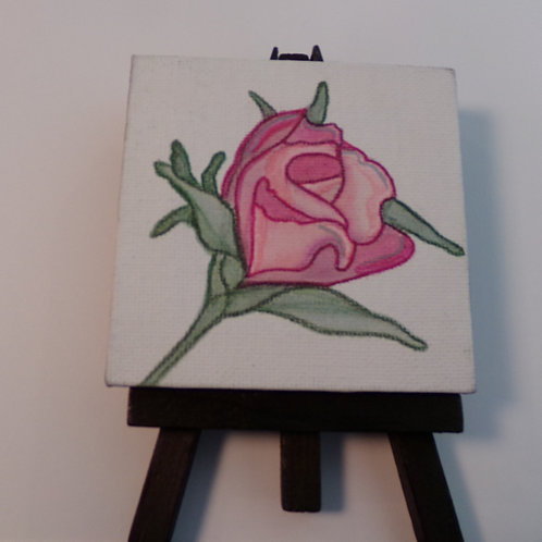 #215 rose 3x3 inch with easel