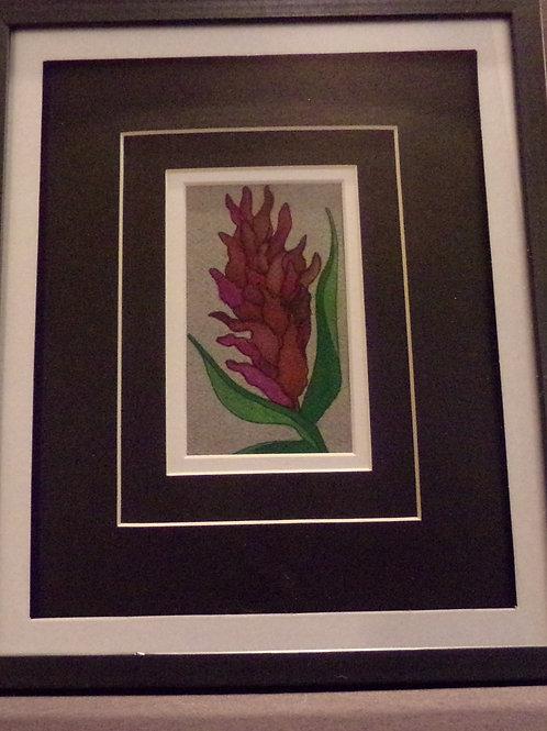 #127 Purple flower 10x12 framed watercolor