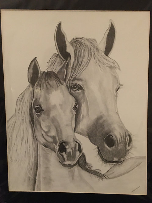 Mother and baby #32 16x20 framed pencil drawing