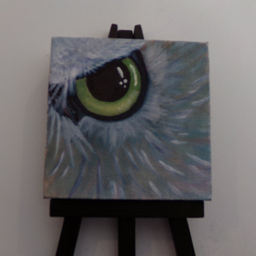 #168 owl eye 3x3 inch with easel