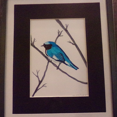 #199 blue bird 10x12 framed watercolor