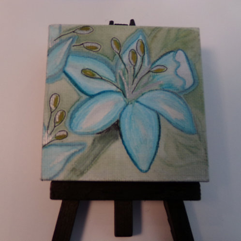 #216 blue flower 3x3 inch with easel