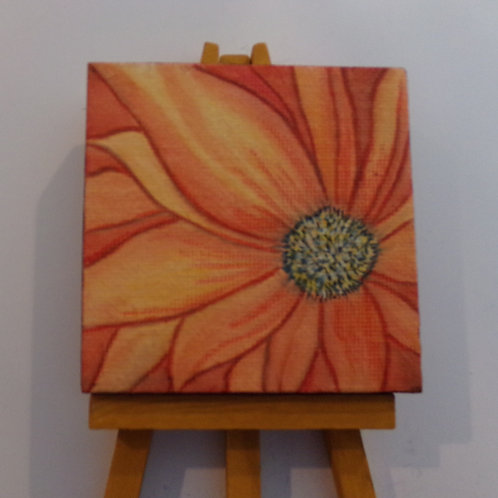#161 orange flower 3x3 inch with easel
