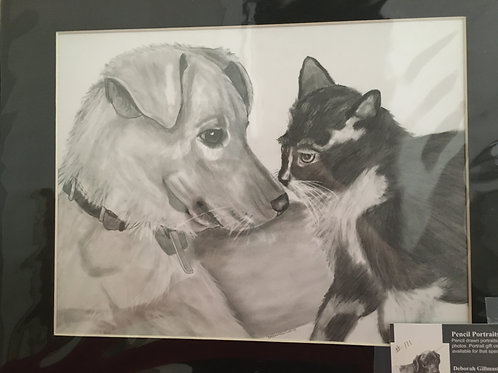 Nose to nose #111 11x14 framed pencil drawing