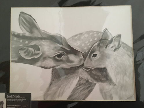 Doe and fawn #101 11x14 framed pencil drawing