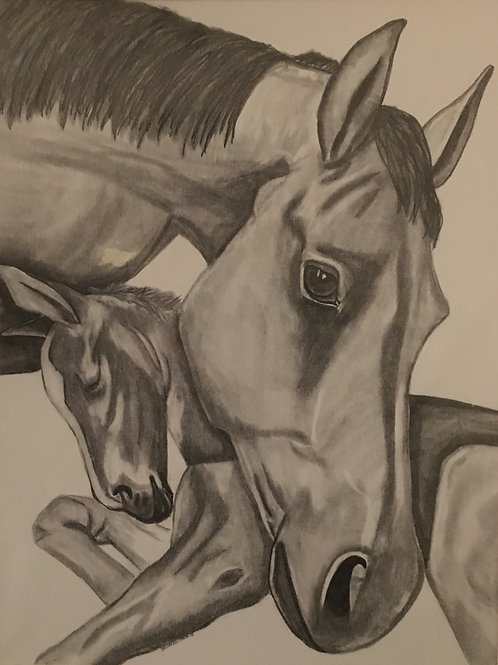 #37 Mother and baby  16x20 framed pencil drawing
