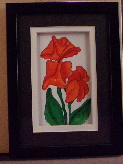 #149 red and orange flowers 5x7 framed watercolor