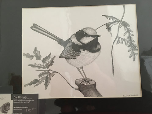 Chickadee #85 11x14 framed pencil drawing