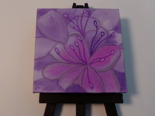 #218 purple flower 3x3 inch with easel