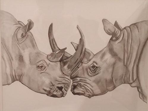 #141 Rhinos 16x20  pencil drawing