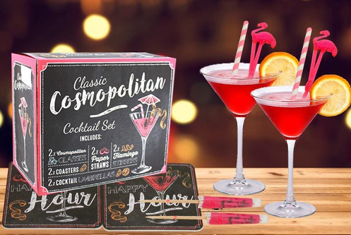 Cosmopolitan Cocktail Gift Set. A classic Cosmopolitan themed gift set, the perfect gift idea for the Cocktail lover. A stylish alcohol themed box, ...