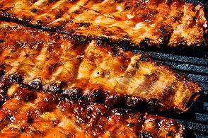 BBQ Ribs grilled with Two Fat Guys BBQ sauce recipe photo