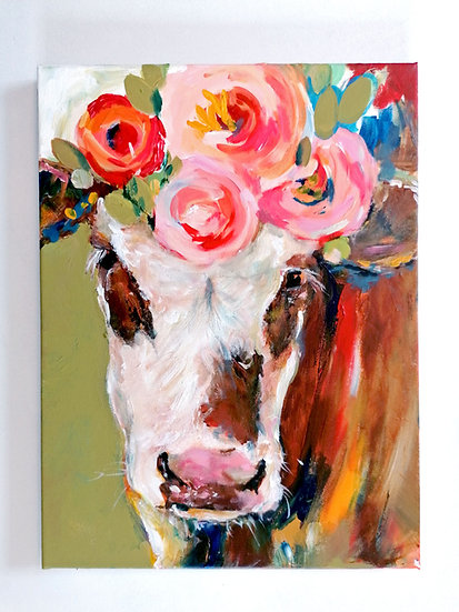 'Rosie Simmental Calf' Original on Canvas