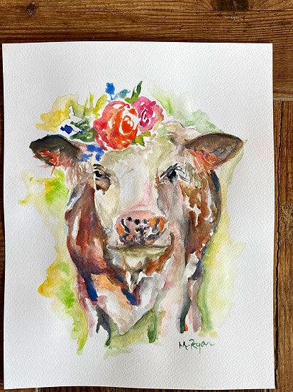 'Bessie Simmental' Watercolour