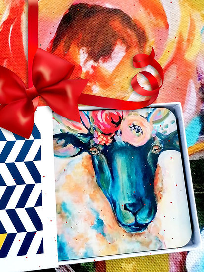 Frida Lamb Set of 4 Coasters