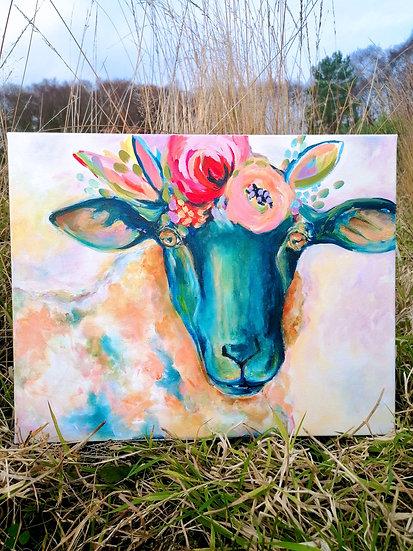 'Lolly Sheep' Original Canvas