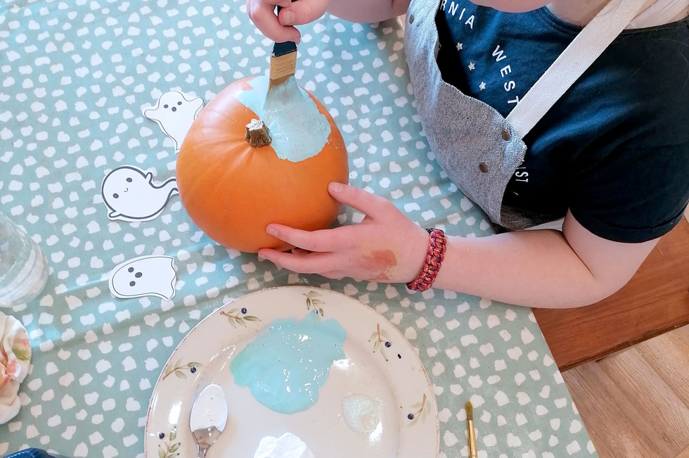 Step 3 - Painting your Pumpkin a Solid Colour