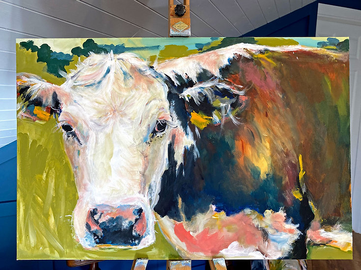 'Daisy Simmental' Original Canvas