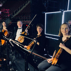 The string section before the Hugh Jackman concert, 14 local musicans provided by Fine Arts Strings.