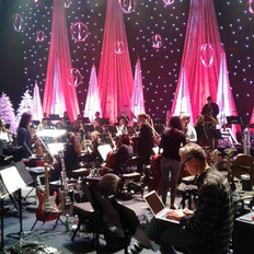 Fine Arts Strings provided a 56 piece orchestra to back Amy Grant's Christmas concert.