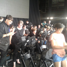 At the rehearsal for the Weird Al Yankovic concert, 41 local musicans provided by Fine Arts Strings.