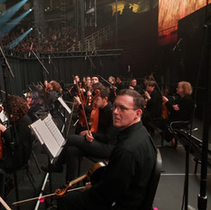 The 38 piece orchestra, provided by Fine Arts Strings, before The Ealges concert