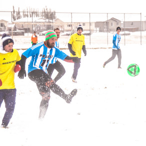 Athletes Brave Snow In Outdoor Soccer Tournament