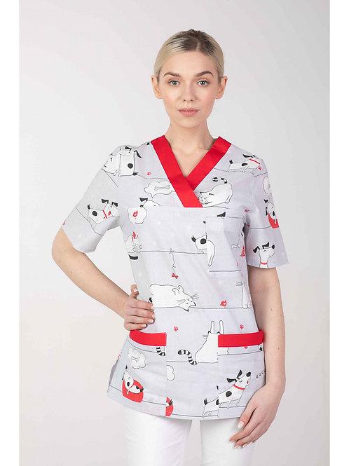 Bluza medyczna WZORY damska PSY M-074G MARTEX