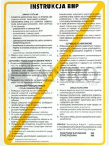 Instrukcja BHP dla spożywczych, gastronomicznych...