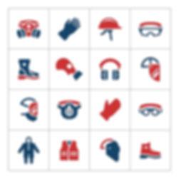 ikonki z rzeczami bhp i ppoż