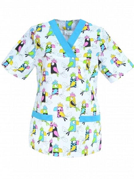 Bluza medyczna M-074G papugi