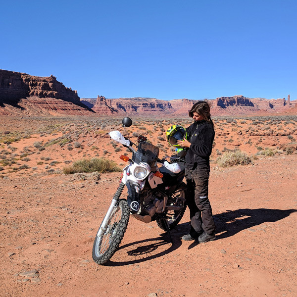 Bonnie J of Story Moto ADV Riding in Valley of the Gods