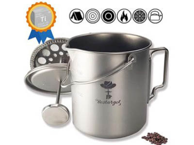 Bestargot titanium camping pot / stove / French press