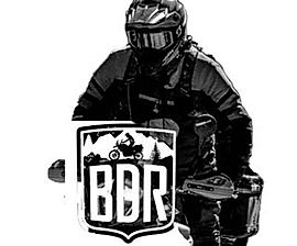 adventure rider with Back Country Discovery Route logo