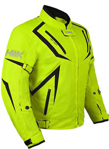 Dual Sport Jacket Front view of Hi Vis Green HWK Motorcycle Riding gear recommended by story Moto adv