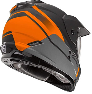 WHITE GMAX GM-11D DUAL SPORT HELMET FOR AND MOTORCYCLE CAMPING OFFROAD- ORANGE ACCENTED